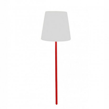 Lampe à planter Ali Baba Fiaccola, Slide Design abat jour blanc, pied rouge