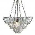 Suspension lustre bouteilles renversées, Leitmotiv chrome, transparent Taille M, Hauteur 50 cm