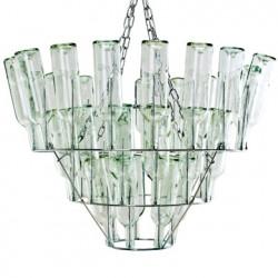 Grand lustre bouteilles renversées, Leitmotiv chrome, transparent Taille L