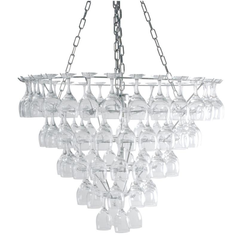 grand lustre verres vin vino glass leitmotiv chrome transparent taille xl cerise sur la deco. Black Bedroom Furniture Sets. Home Design Ideas