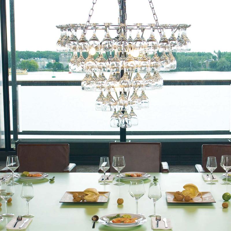 Grand lustre verres à vin vino glass leitmotiv chrome transparent taille xl
