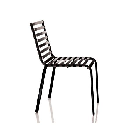 Chaise Striped, Magis structure verni noir, lattes gris fumé transparent