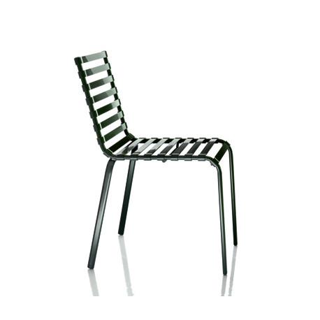 Chaise Striped, Magis structure verni vert foncé, lattes vert