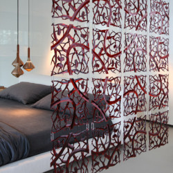 20 carrés séparations design PIP, Koziol rouge transparent