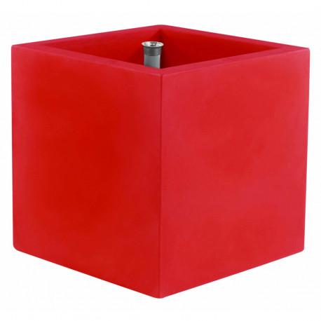 Pot Cubo 50 cm, double paroi, avec réserve d'eau, Vondom rouge