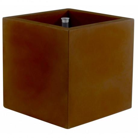 Pot Cubo 50 cm, double paroi, avec réserve d'eau, Vondom marron