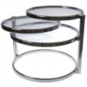Table double Swivel verre transparent incolore