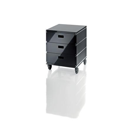 Plus Unit, 3 tiroirs empilés sur roulettes Magis gris anthracite