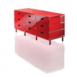 Plus Unit, 9 tiroirs empilés sur patins, Magis rouge
