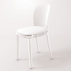 Vanity chair, Magis blanc structure transparente crystal
