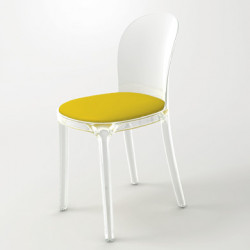 Vanity chair, Magis jaune structure transparente crystal