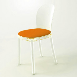Vanity chair, Magis orange structure transparente crystal