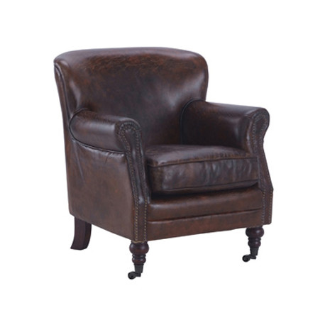 fauteuil club en cuir tucson meubles hanjel marron vieilli cerise sur la deco. Black Bedroom Furniture Sets. Home Design Ideas