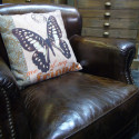 Fauteuil club en cuir Tucson meubles Hanjel marron vieilli