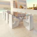 Table Rest, Vondom, plateau HPL blanc, tranche noire, Longueur 200 cm