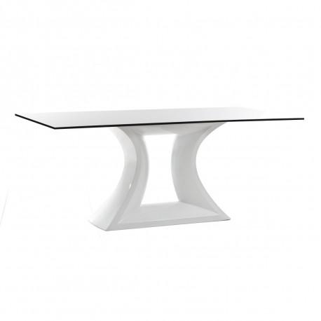 Table Rest, Vondom, plateau HPL blanc, tranche noire, Longueur 300 cm