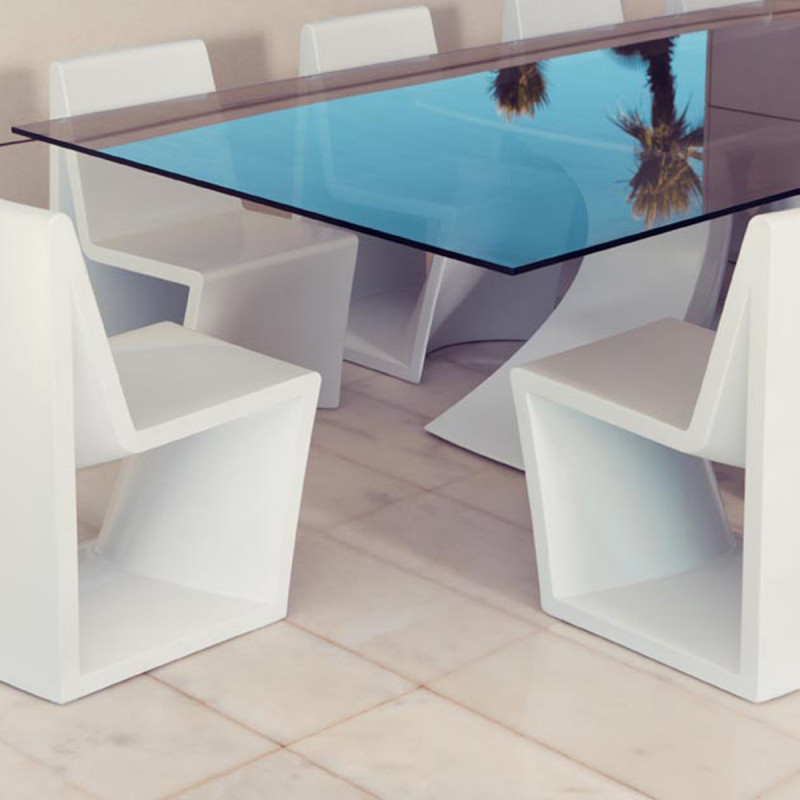 Table rest vondom plateau blanc full white longueur 300 cm cerise sur la deco for Table 300 cm