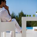 Coussin d'assise pour chaise avec accoudoirs Jut blanc