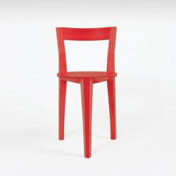 Chaise tripode Petite Gigue, Moustache chêne laqué rouge