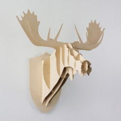Grand trophée mural Elan, Moustache bois naturel H 86 cm