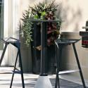Mange debout One Bistrot outdoor, Magis, plateau noir diamètre 60 cm, structure noire