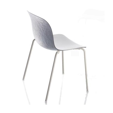 Chaise design bois et acier Troy, Magis hêtre blanchi, structure blanche