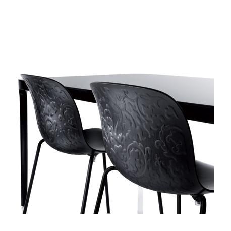 Chaise Design Bois Et Acier Troy Magis Htre Verni Noir Structure Noire