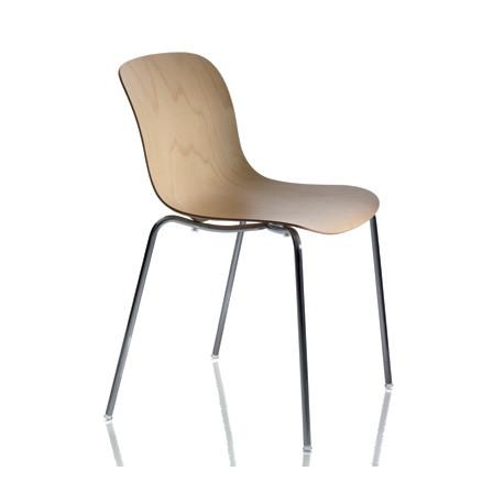 Chaise design bois et acier Troy, Magis hêtre naturel, structure chromée