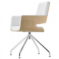 S843 Fauteuil de bureau ergonomique, Thonet bois hêtre, blanc, chrome