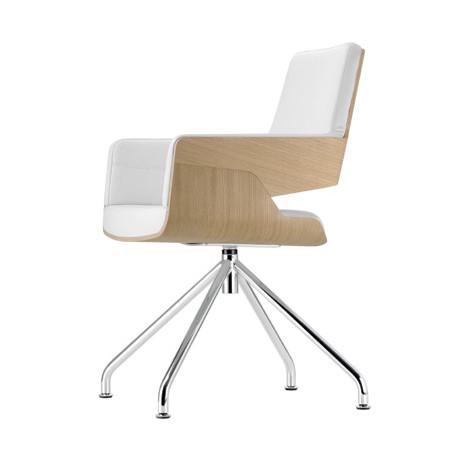 S843 Fauteuil de bureau ergonomique, Thonet bois hêtre, blanc, chrome