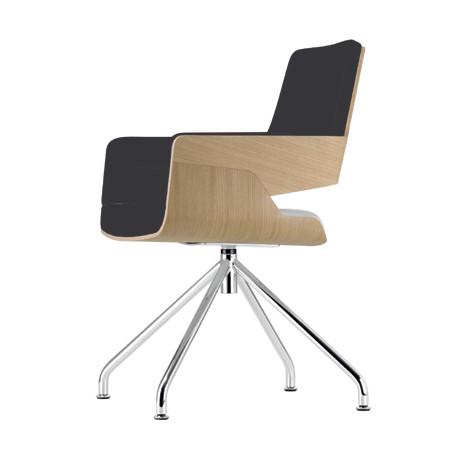 S843 Fauteuil de bureau ergonomique, Thonet bois hêtre, noir, chrome