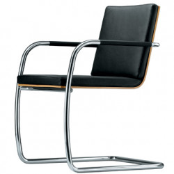 S60 Chaise en cuir, Thonet noir, structure chrome