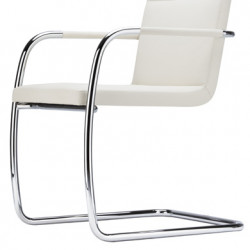 S60 Chaise en cuir, Thonet blanc, structure chrome