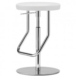 S123PH Tabouret de bar réglable, Thonet blanc, structure chrome