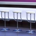 S123PH Tabouret de bar réglable, Thonet blanc, structure chrome