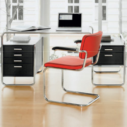 Bureau design S285, 2 blocs 5 tiroirs, Thonet noir laqué, structure chrome