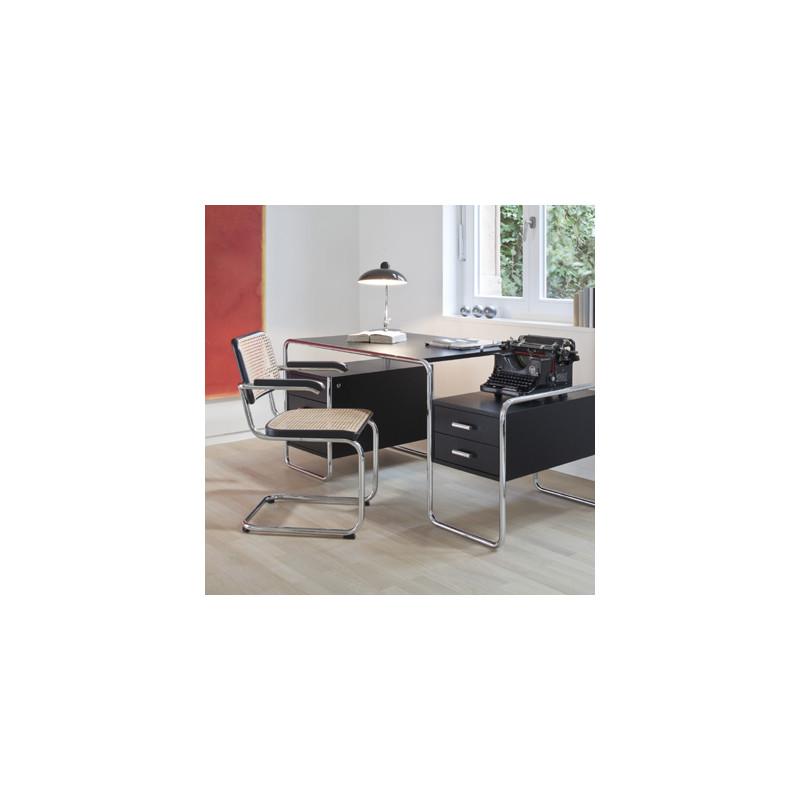 Bureau design s285 2 blocs 5 tiroirs thonet noir laqu for Bureau noir laque