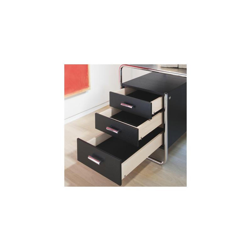 Bureau design s285 2 blocs 5 tiroirs thonet noir laqu for Bureau design 2 tiroirs