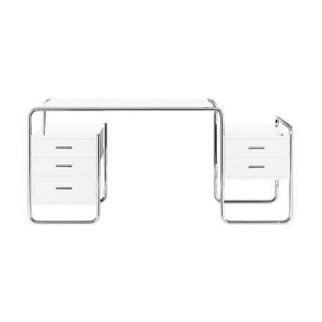 Bureau design S285, 2 blocs 5 tiroirs, Thonet blanc laqué, structure chrome