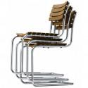 S40 Chaise de jardin, Thonet bois iroko, structure chrome