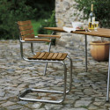 Chaise jardin avec accoudoirs S40F, Thonet bois iroko, structure chrome