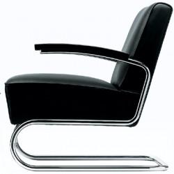 S411 Fauteuil en cuir, Thonet noir, structure chrome