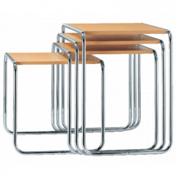 B9 Tables gigognes Thonet (Set de 4) hêtre naturel laqué, structure chrome