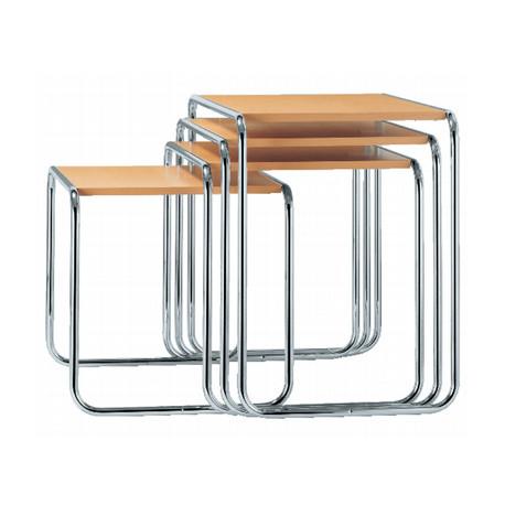 B9 Tables gigognes Thonet (Set de 4) hêtre naturel laqué, structure chrome