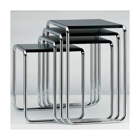 B9 Tables gigognes Thonet (Set de 4) noir laqué, structure chrome