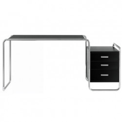 S285 -1 Bureau design Thonet, 1 bloc extérieur 3 tiroirs noir laqué, structure chrome