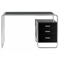 S285 -2 Bureau design Thonet, 1 bloc intérieur 3 tiroirs noir laqué, structure chrome