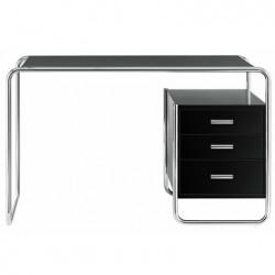 S285 -2 Bureau design Thonet, 1 bloc intérieur 3 tiroirs noir laqué, structure chrome