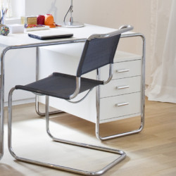 S285 -2 Bureau design Thonet, 1 bloc intérieur 3 tiroirs blanc laqué, structure chrome
