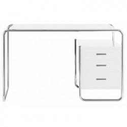 S285 -2 Bureau design Thonet, 1 bloc intérieur 3 tiroirs blanc laqué, structure chrome